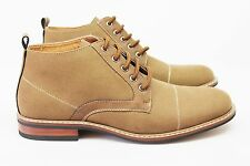 New Men's Brown Ferro Aldo Ankle Boots Cap Toe Canvas / Leather Lace Up NEW
