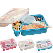 HQ Plastic Bento Lunch Box Set & Utensils Food Storage Containers microwave oven