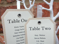 Vintage Table Numbers / Seating Plan Tags DIY Wedding  with Silver crystal