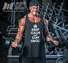 NEW Men's Muscle Club KEEP CALM AND STAY SWOLE Bodybuilding Workout Tank Black