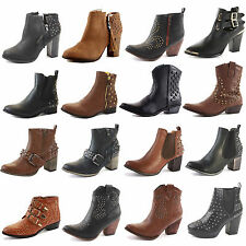 LADIES WOMENS BLOCK CHUNKY PLATFORM HEEL CHELSEA CUT OUT ANKLE BOOTS SHOES SIZE