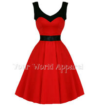 H AND R LONDON RED BLACK COCKTAIL DRESS PINUP VINTAGE STYLE ROCKABILLY GOTH 5186