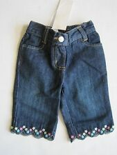 GYMBOREE Girl's Denim Embroidered Floral Jean Pants Size 3-6 Months NWT