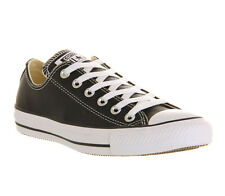 Mens Converse Allstar Low Lthr BLACK WHITE LEATHER Trainers Shoes