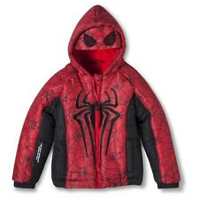 Spider-Man Boys' Puffer Jacket with Hooded Mask