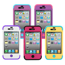 Shockproof TUFF Rubberized Hard Hybrid Holder Case Cover For Apple iPhone 4 4S