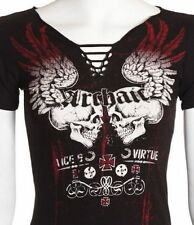 Archaic AFFLICTION Women T-Shirt GARAGE Skulls Tattoo Biker UFC Sinful S-XL $36