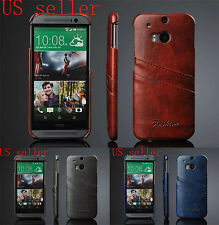 NEW LEATHER CASE COVER WITH TWO CARD SLOT FOR HTC ONE M8