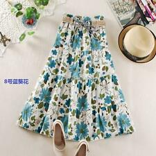 Pastoral Style Women/Girl Floral Pattern Pleated Maxi Dress Long Tunic Skirt