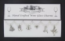 Snowman Set of 6 Christmas Wine Glass Charms Silver Stocking Filler Present Gift