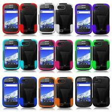 Dual Layer Hybrid Hard Skin Impact T-Stand Case Cover For ZTE Valet Z665C