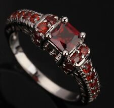 Fashion Jewelry Garnet Gemstones Silver Rings US#Size5 6 7 8 9 T0380
