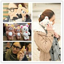 3D Cute Teddy Bear Cool Plush Toy Doll Skin Case Cover For Various LG Phones