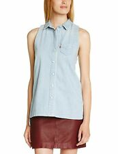 Levis Denim Shirt Womens Sleeveless Peek A Boo Blue Cotton Racerback Tank Top