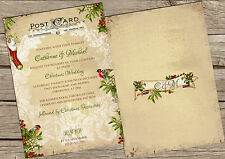 PERSONALISED VINTAGE POSTCARD CHRISTMAS WEDDING INVITATIONS