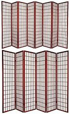 6 and 8 Panel Japanese-Oriental Style Shoji Screen Room Divider Cherry Color