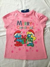 Girl's Licensed The Smurfs Xmas T-Shirt, Sizes: 1, 2, 3, 4, 5 & 6, BNWT FREE P&H
