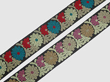 "3 Yd Jacquard Trim 2.60"" wide Woven Border Sew Embroidered Ribbon Lace T864"