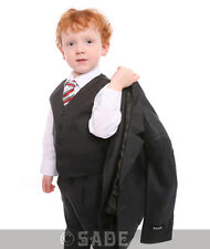 Boys Charcoal Grey Suit Jacket Trousers Waistcoat Shirt & Tie 1-13 Years Milo
