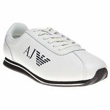 New Mens Armani Jeans White Leather Runner Trainers Retro Lace Up