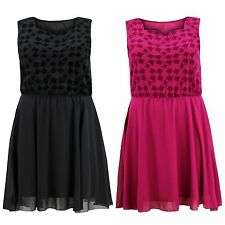 Ladies Womens Plus Size Sleeveless Velvet Flock Contrast Chiffon Skater Dress