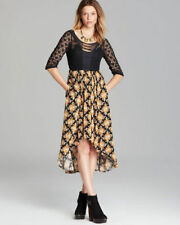 Free People Lonesome Dove Black and Gold Combo Dress Size 4
