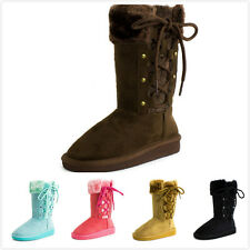 New Girl's Fashion Fur Lined Comfort Mid Calf Lace Up Flat Heel Boots Shoes