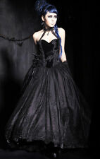 Punk Rave Gorgeous Baroness Long Dress Goth Formal Black Wedding Gothic Corset