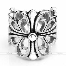 Silver Tone Stainless Steel Hollow Fleur-De-Lis Wrap Band Ring Mens Womens Gift