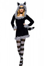 Women Racy Racoon Halloween Costume Fancy Dress Outfit Adult Animal Jungle Theme