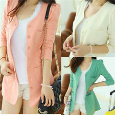 New Women Ladies Candy Color Solid Slim Suit Blazer Coat Jacket Tops Plus Size