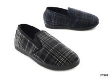 MENS SLIPPERS CHECKED BAFFIES COSY WARM RUBBER SOLE MENS FLEECE SLIPPERS 7-12