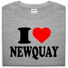 I LOVE NEWQUAY T SHIRT TOP HEART GIFT MEN GIRL WOMEN BOY SEASIDE SURF HOLIDAY