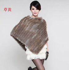2014 Rex Rabbit Fur Wrap Shawl Scarf Cape Outwear Vest Womens' straw yellow