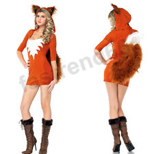Womens Adult Fox Halloween Party Charming Animal Costumes Outfit Fancy Dress