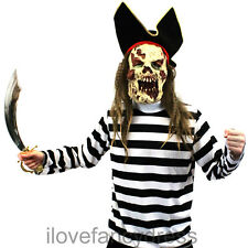 ZOMBIE PIRATE COSTUME MENS HALLOWEEN FANCY DRESS GHOST SHIP CAPTAIN GHOUL MASK