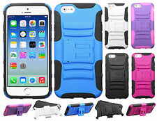 Apple iPhone 6 / 6s HYBRID KICKSTAND Hard Rubber Silicone Case+ Screen Protector
