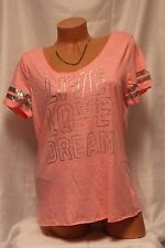 Aeropostale LIVE LOVE DREAM Sequined Athletic Tee w/Metallic Text Coral