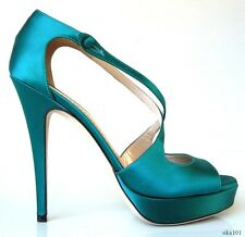new $695 YSL Yves Saint Laurent Tribute turquoise X-strap platforms shoes - SEXY
