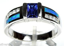 Brand New Tanzanite & Blue Fire Opal Inlay 925 Sterling Silver Men's Ring size 9