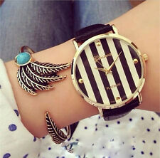 Hot sale Geneva fashion casual stripe printed for women girls leather pu band