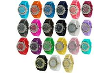 Mens Women Silcone Jelly Geneva Silicone Watch Crystal Rhinestones Large Face