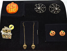 Avon Halloween Earrings or Pin- Pumpkin Skull Spiderweb Haunted House PICK YOURS