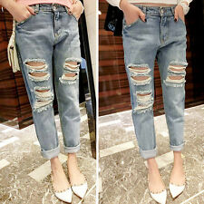 Distressed Destroyed Loose Ripped Boyfriend Denim Jeans Skinny Leg Women Pants