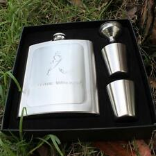 8 OZ Engraved Stainless Steel Easy Take HIP FLASK Funnel Christmas Gift Box MR