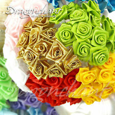 Bunch of 12 Ribbon Rose Buds Wired Stem Small Artificial Flower Stamen Bouquet