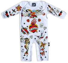 SIX BUNNIES WHITE OLD SCHOOL TATTOO FLASH BABY GROW ROMPER PLAYSUIT GOTH PUNK