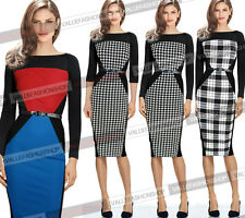 Womens Colorblock Tunic Optical Illusion Business Work Party Pencil Dress 041