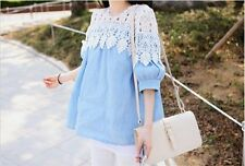 Fashion Women's Wild Hollow Lace Stitching Blends 1/2 Sleeve Shirt Blouse Tops