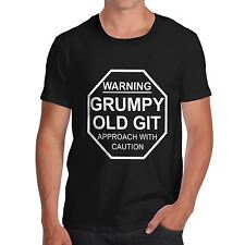 Mens Cotton Novelty Funny Design Grumpy Old Git T-Shirt White Small